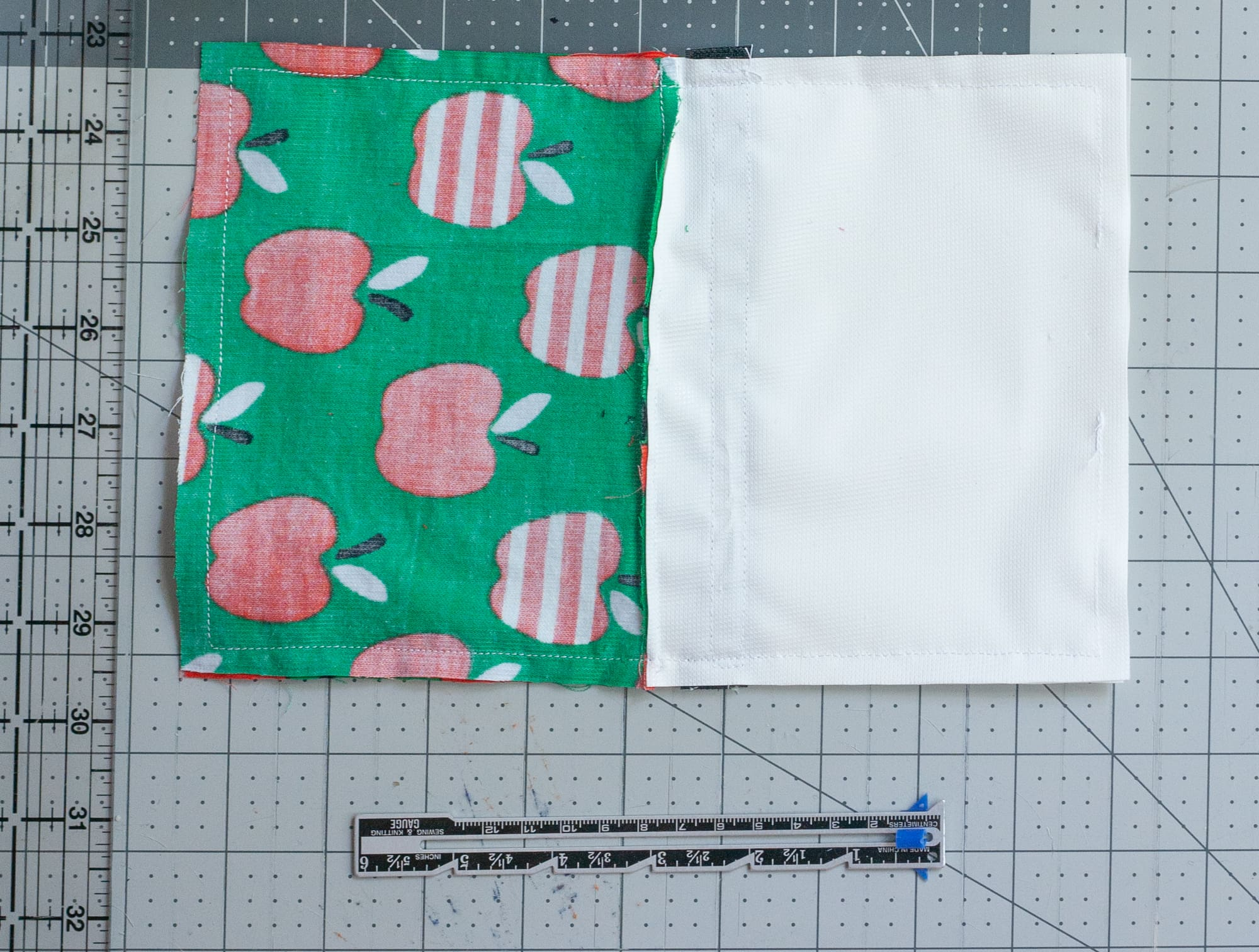 Pieces of fabric for small bags sewn together
