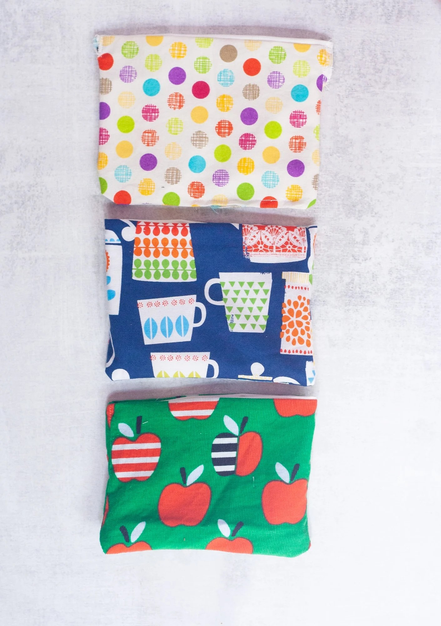 Three reusable snack bags lined up