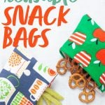 """Three reusable snack bags, each spilling out a different snack - pretzels, almonds, and crispy snap peas. A text overlay reads """"How to Make Reusable Snack Bags."""""""