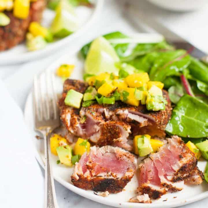 Grilled Blackened Tuna Steaks with Mango Avocado Salsa - Plated