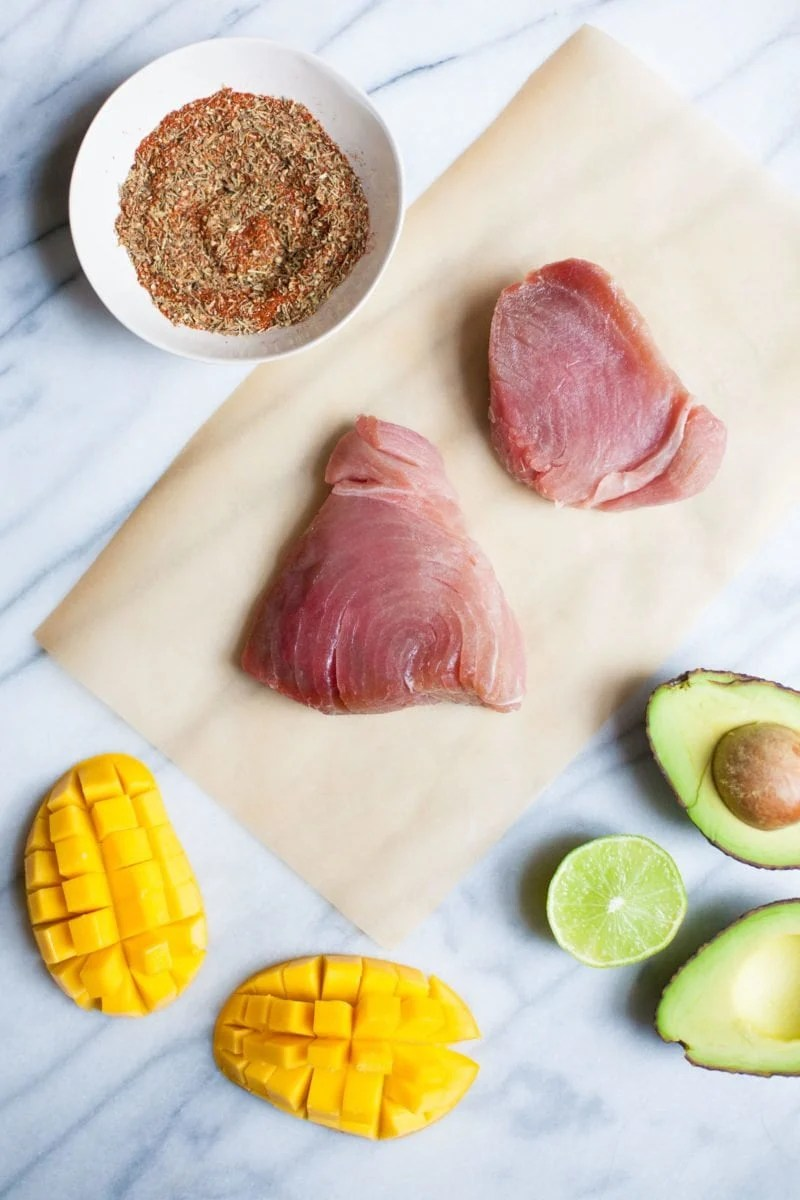Grilled Blackened Tuna Steaks with Mango Avocado Salsa - Raw Tuna and Ingredients