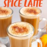 """Three glass mugs filled with pumpkin spice lattes and topped with cinnamon, with mini pumpkins nearby. A text overlay reads, """"Homemade Vegan Pumpkin Spice Latte."""""""