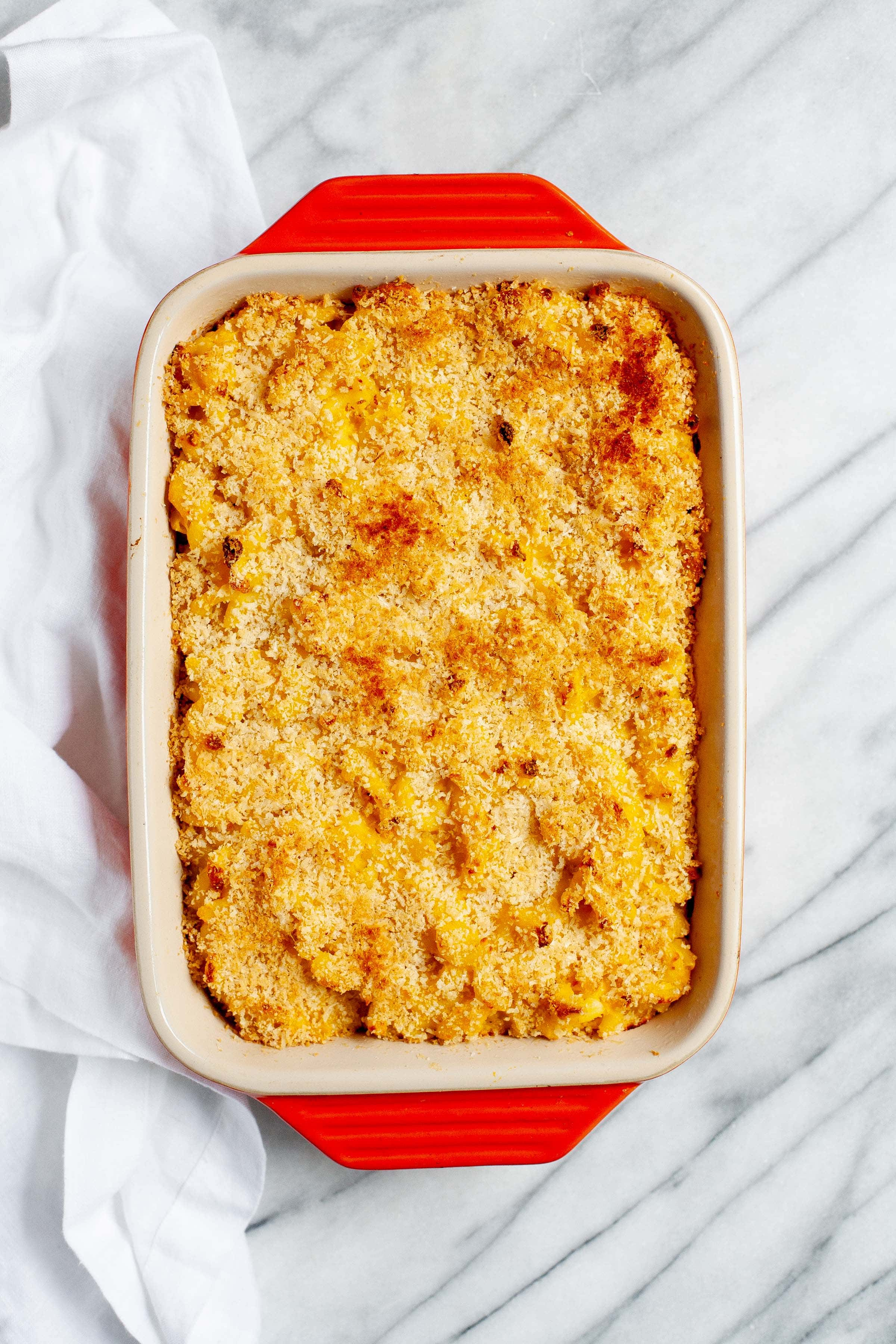 Beer and Butternut Squash Macaroni and Cheese in a red baking pan
