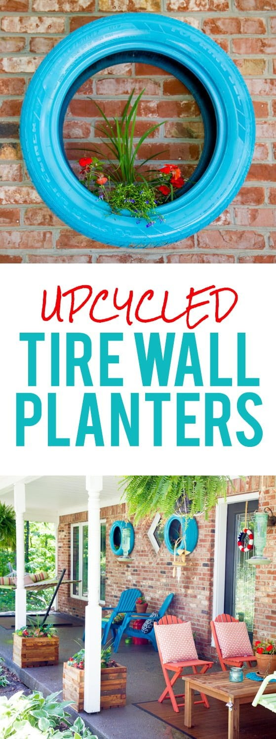 Upcycled Tire Wall Planters