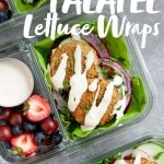 Meal Prep Baked Falafel Lettuce Wraps packed into glass lunch containers with mixed berries, with a text overlay