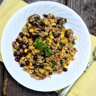 Mushroom, Corn, and Black Bean Farro