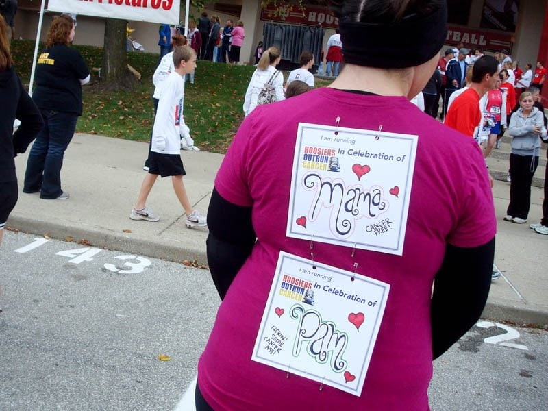 me hoosiers outrun cancer bibs