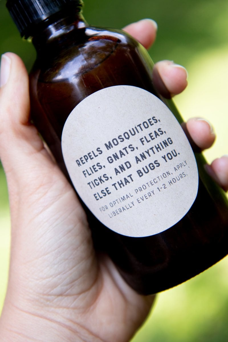 Close-up shot of a label for homemade all-natural tick and bug spray