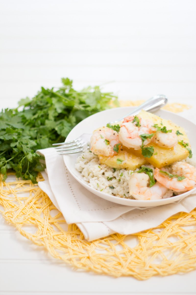 Shrimp-Pineapple Packets with Cilantro-Coconut Rice