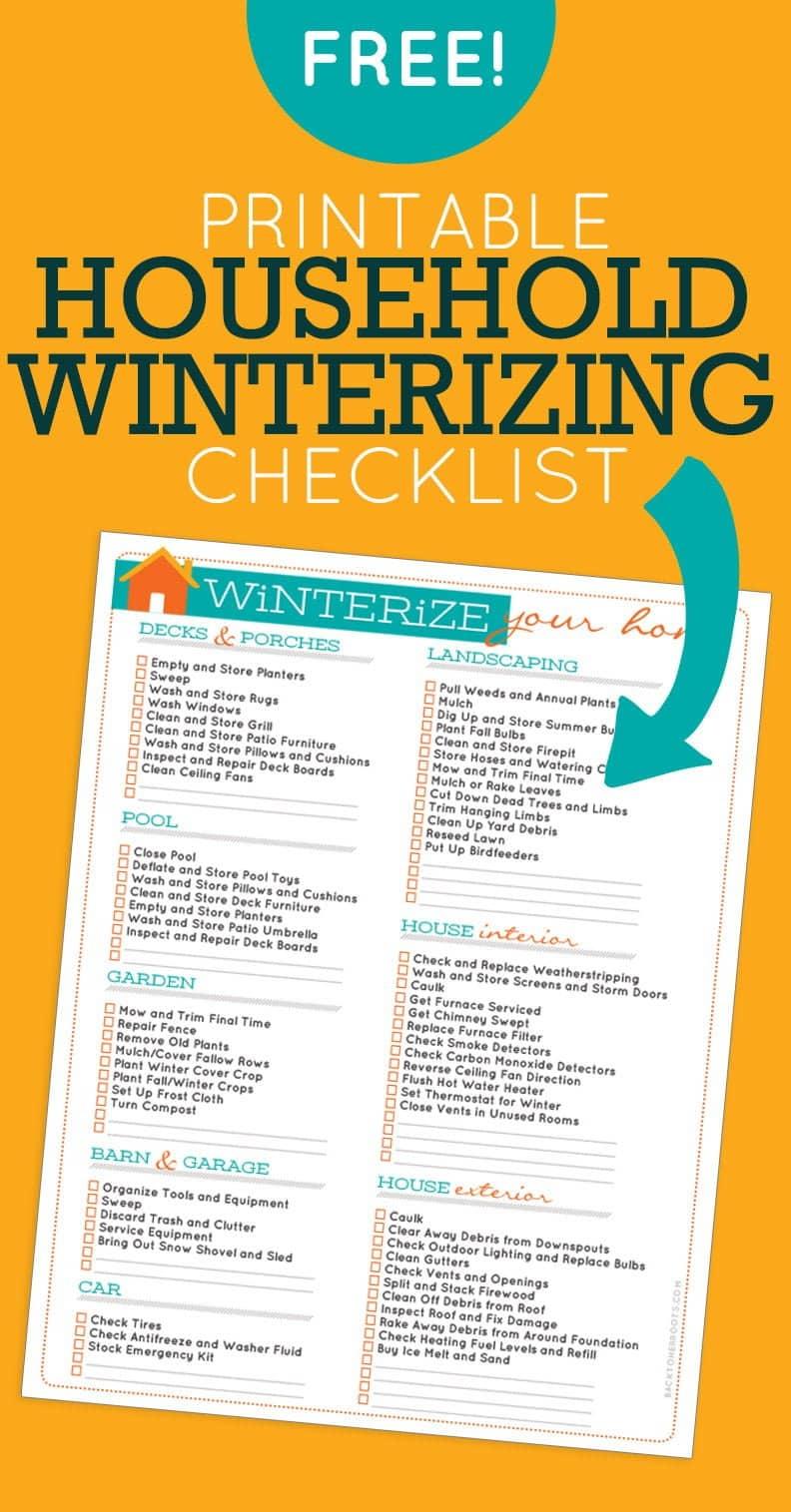 Free Printable Winterizing Checklist
