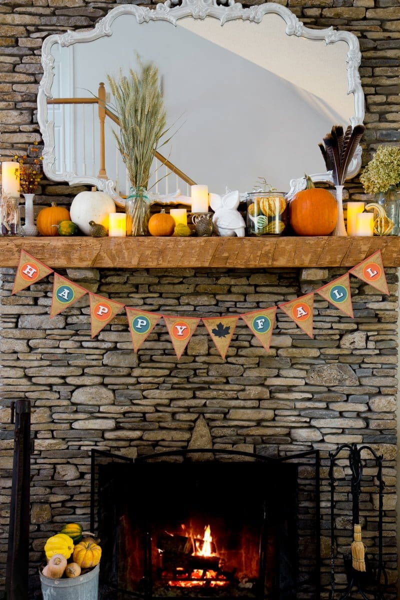 Fall Bunting on Fireplace Mantel
