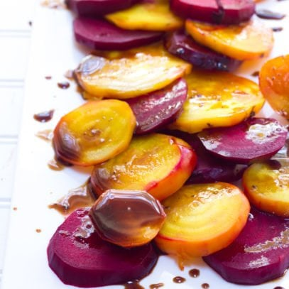 Balsamic Rainbow Roasted Beets on a white platter
