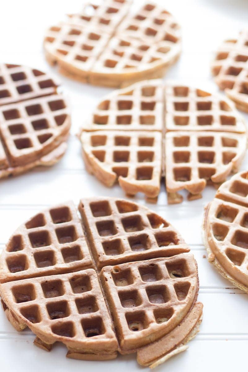 Frozen Waffles sit whole on a white background.