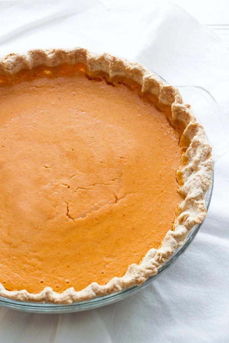 Overhead of whole, finished sweet potato pie.