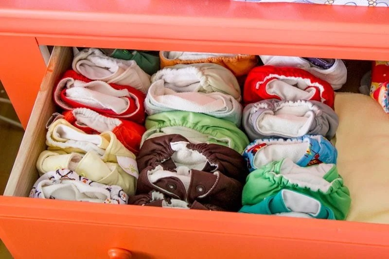 Newborn Diapers in Drawer