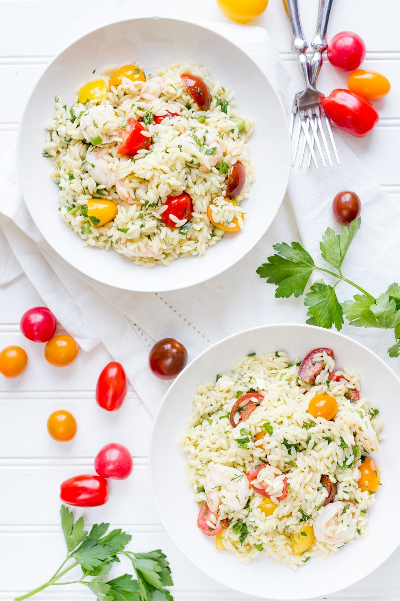 Lemon Orzo with Shrimp and Tomatoes