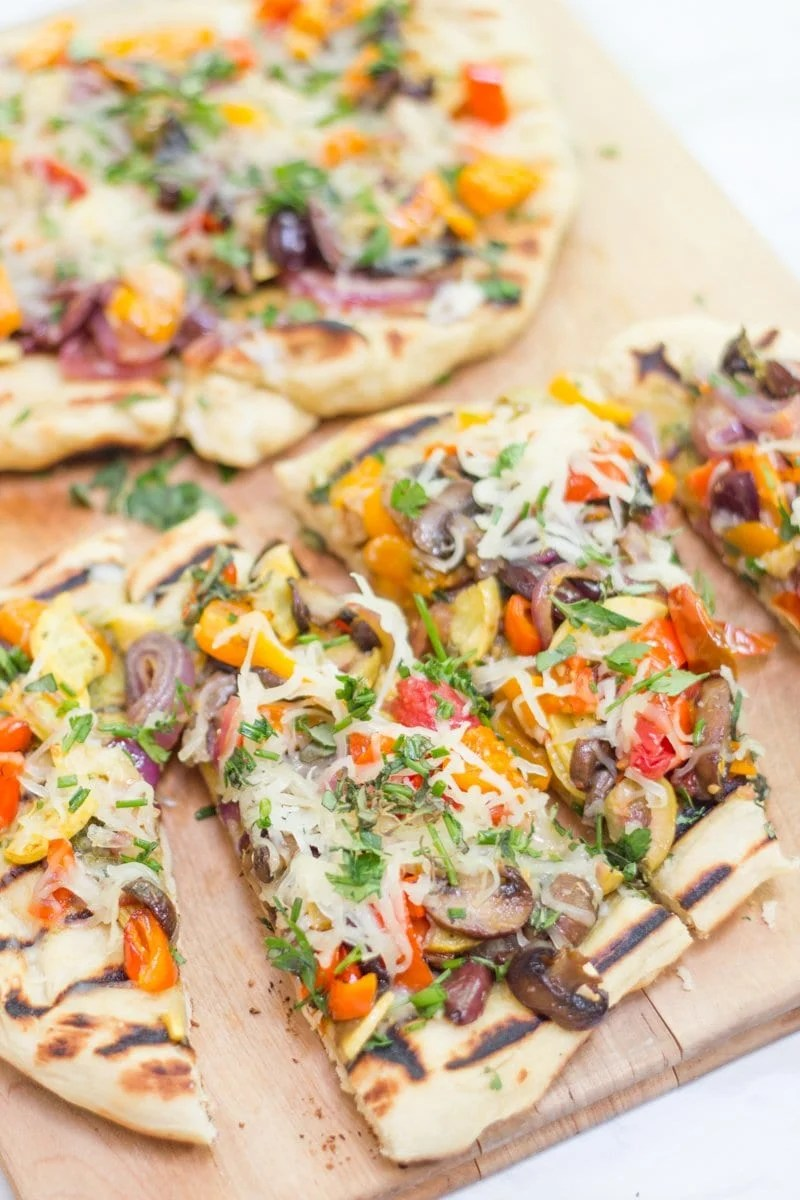 Grilled Veggie and Pesto Flatbreads
