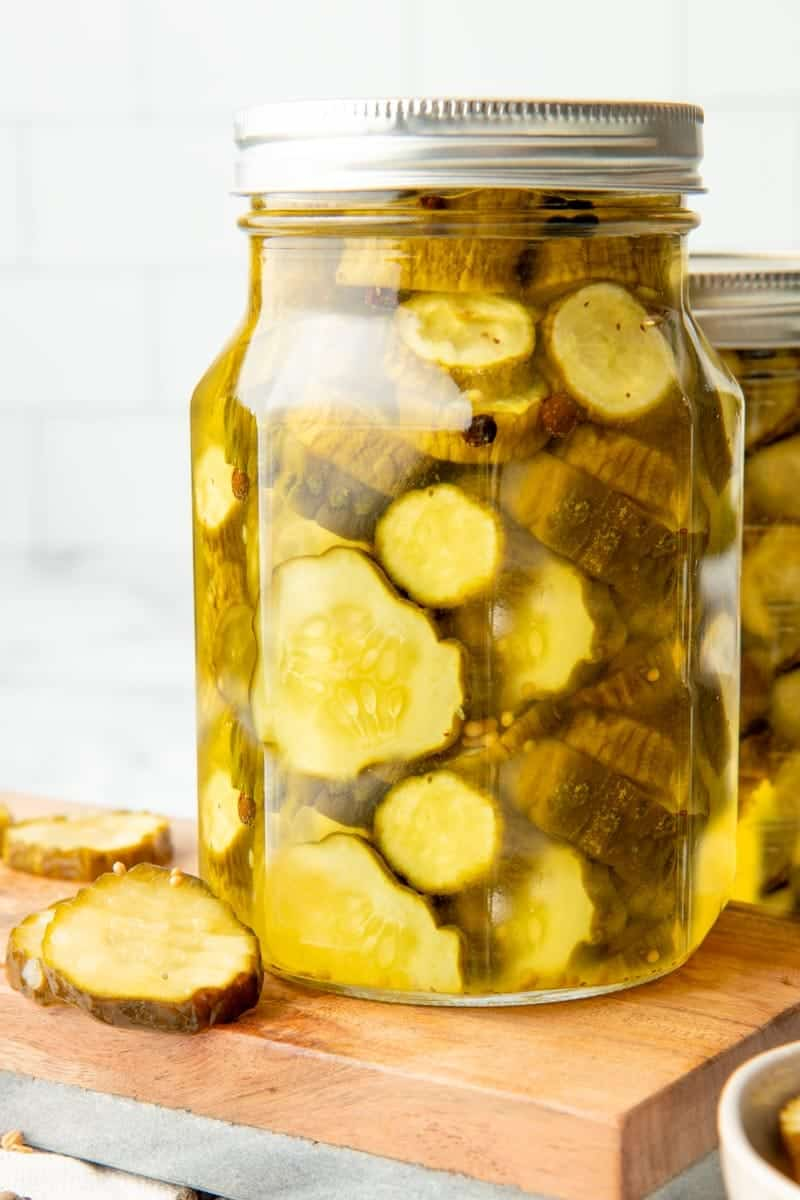 Close up on a canning jar of bread and butter pickles