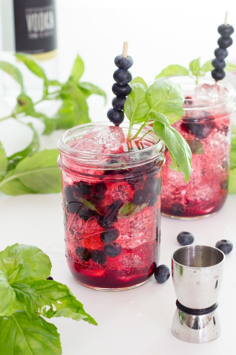 Blueberry Basil Vodka Tonic