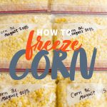 "Rows of bags filled with corn kernels. A text overlay reads ""How to Freeze Corn."""