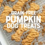"Dog treats shaped like bones and drizzled with a peanut butter glaze are on a wire cooling rack. A text overlay reads ""Grain-Free Pumpkin Dog Treats."""