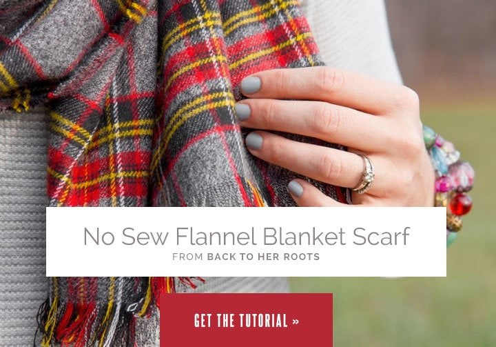 No Sew Flannel Blanket Scarf from Wholefully