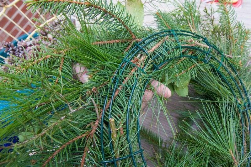 The back of a fresh greenery wreath
