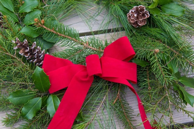 Close up of a red bow on a fresh greenery wreath