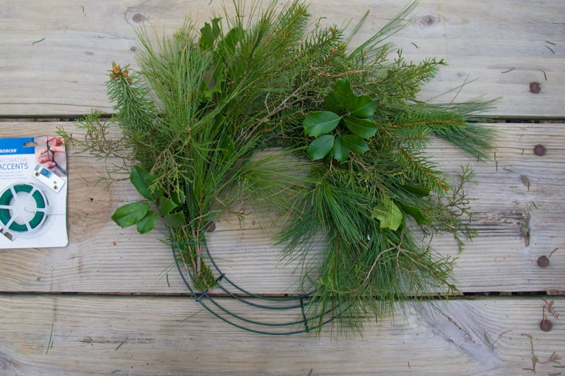 Fresh greenery being wrapped onto a wreath form