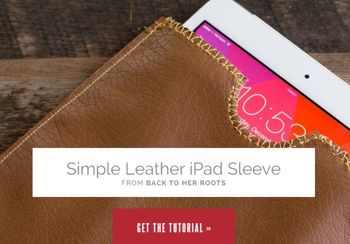 Simple Leather iPad Sleeve from Wholefully