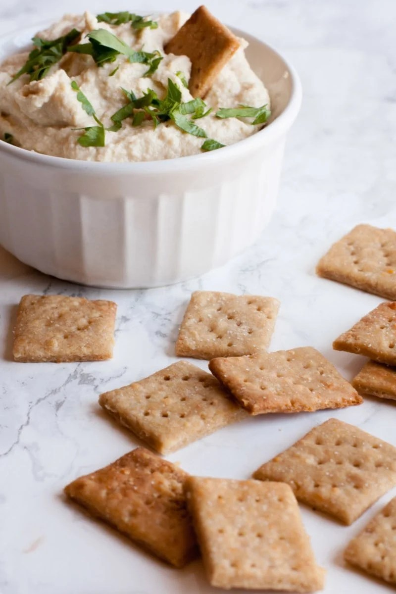 Crackers sit scattered around a bowl of dip. One cracker sits inside the dip.