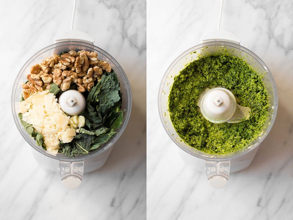 A split image shows a picture of a food processor on the left with ingredients for pesto. Picture on right shows final processed pesto.