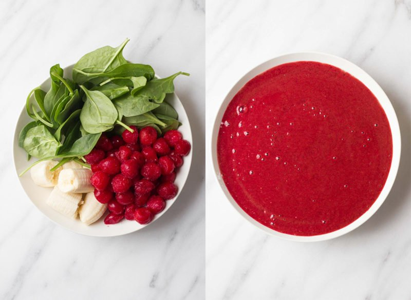 Tart Cherry and Spinach Smoothie Bowls