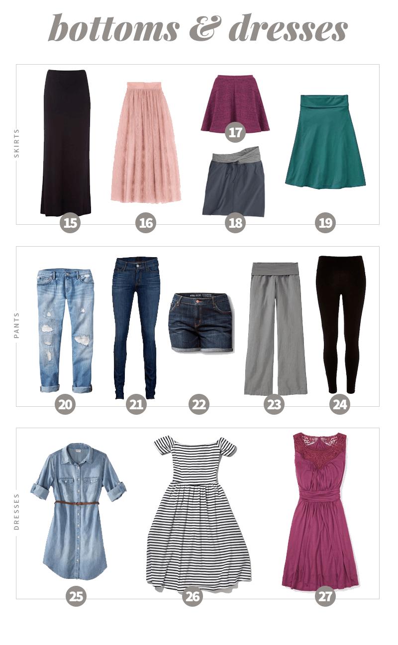 Summer 2016 Capsule Wardrobe Bottoms