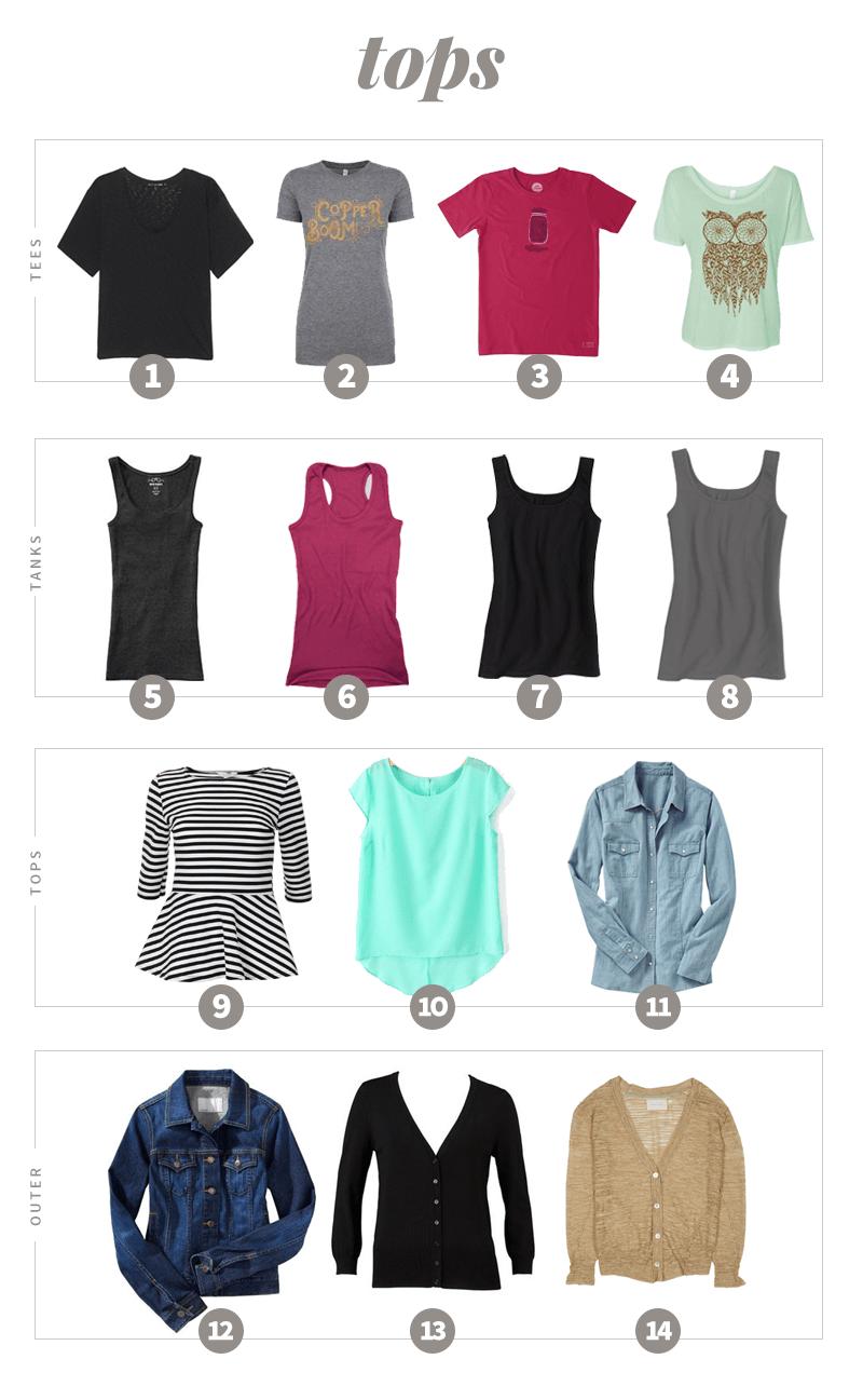Summer 2016 Capsule Wardrobe Tops