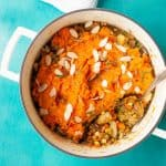 Sweet Potato Lentil Shepherd's Pie in a Dutch oven