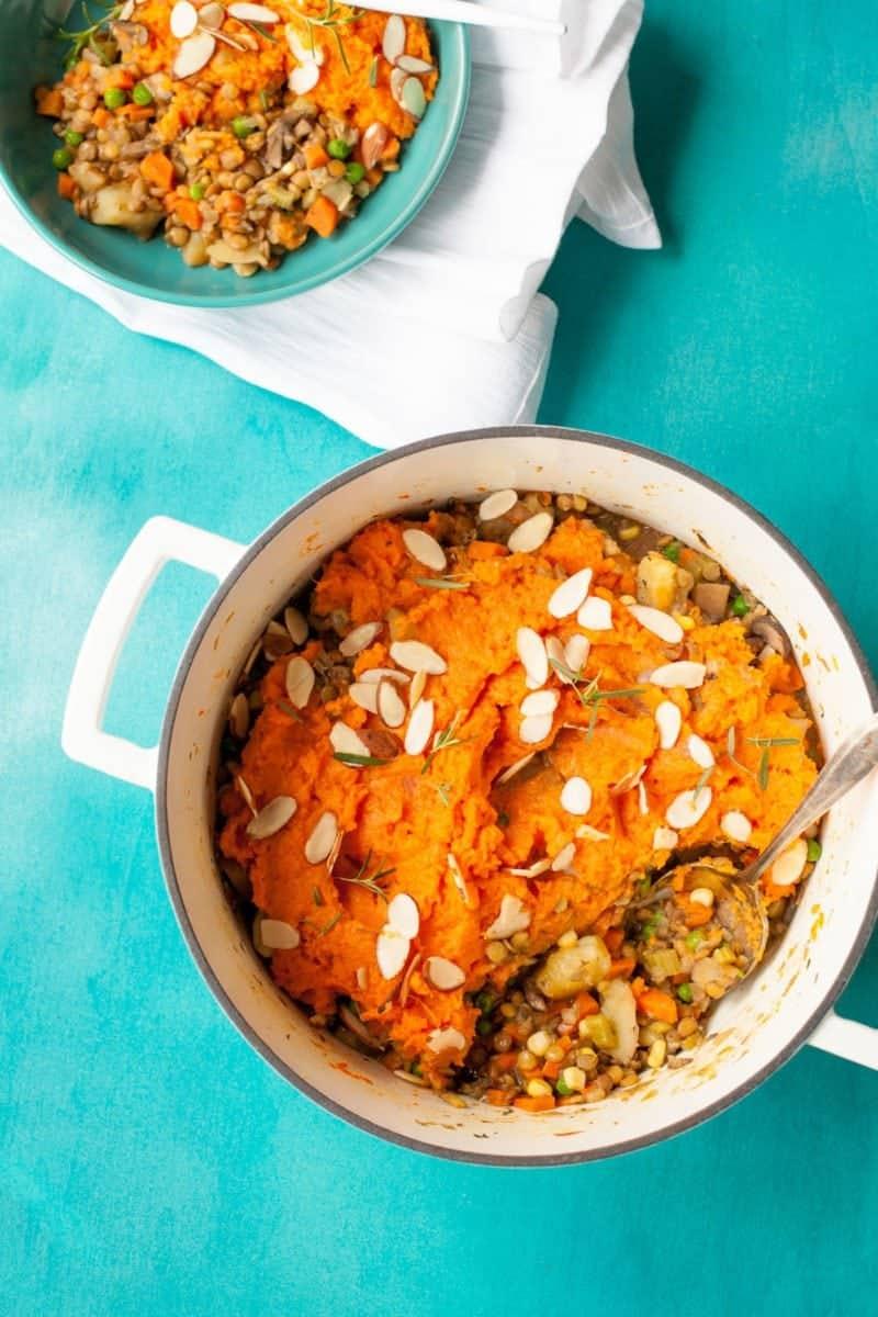 Sweet Potato Lentil Shepherd's Pie in a Dutch oven
