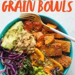 "Teal bowl filled with rice, tofu, and veggies. A text overlay reads ""How to Make Awesome Grain Bowls."""
