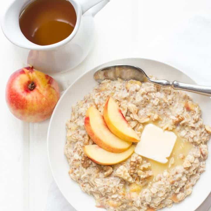 Peach, Flax, and Walnut Oatmeal