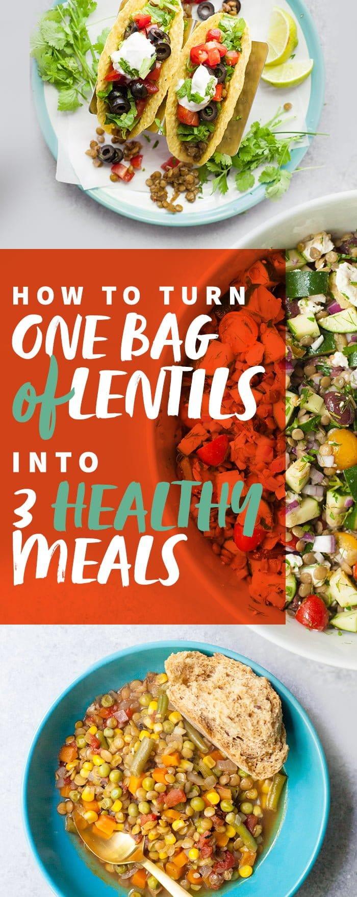 One Bag of Lentils, 3 Meals