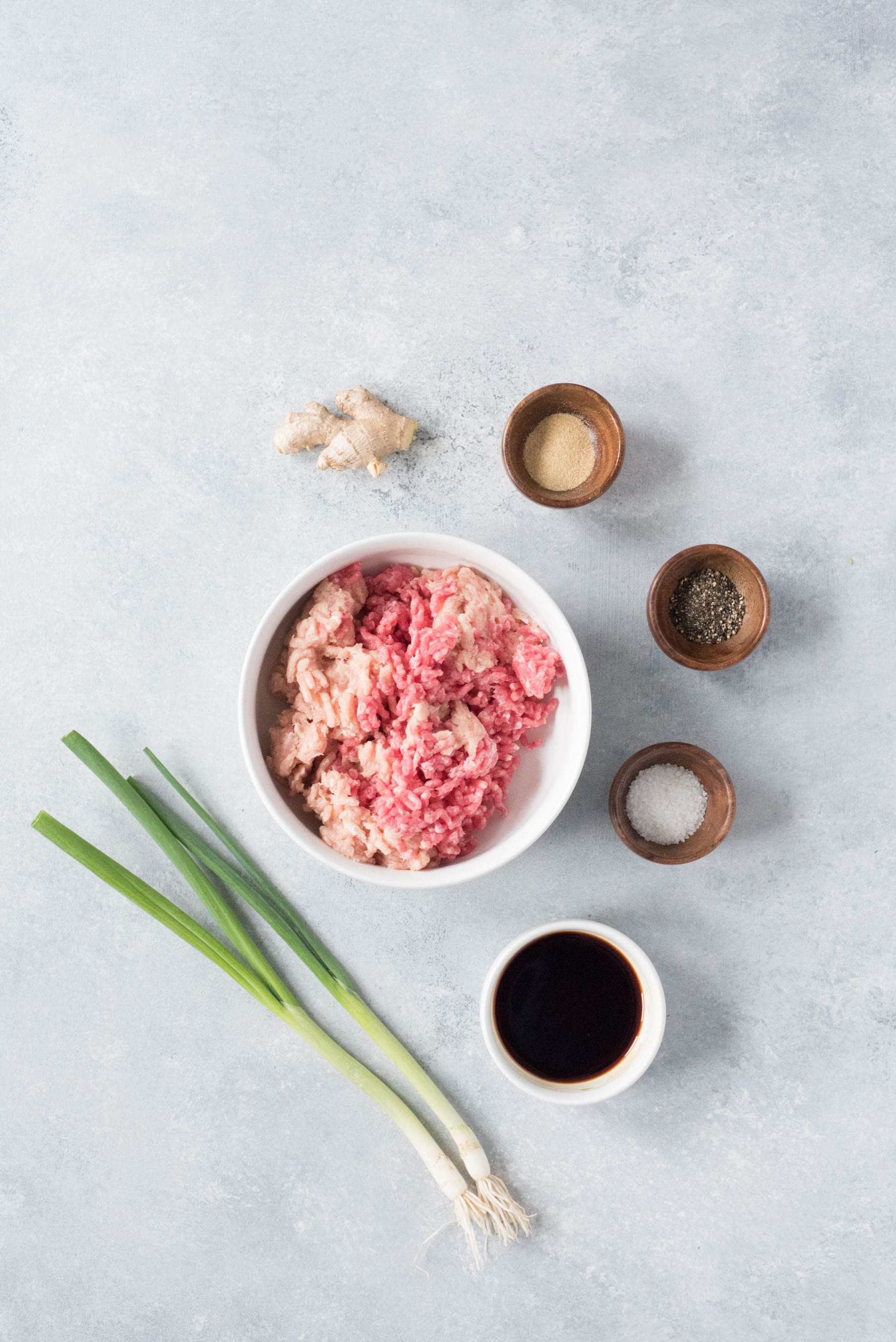 Overhead shot of ingredients for Asian pork burgers - ground pork and chicken, soy sauce, green onions, ginger, and spices