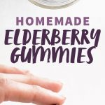 "A hand holds a Lego-shaped gummy under a jar of gummies. A text overlay reads ""Homemade Elderberry Gummies."""
