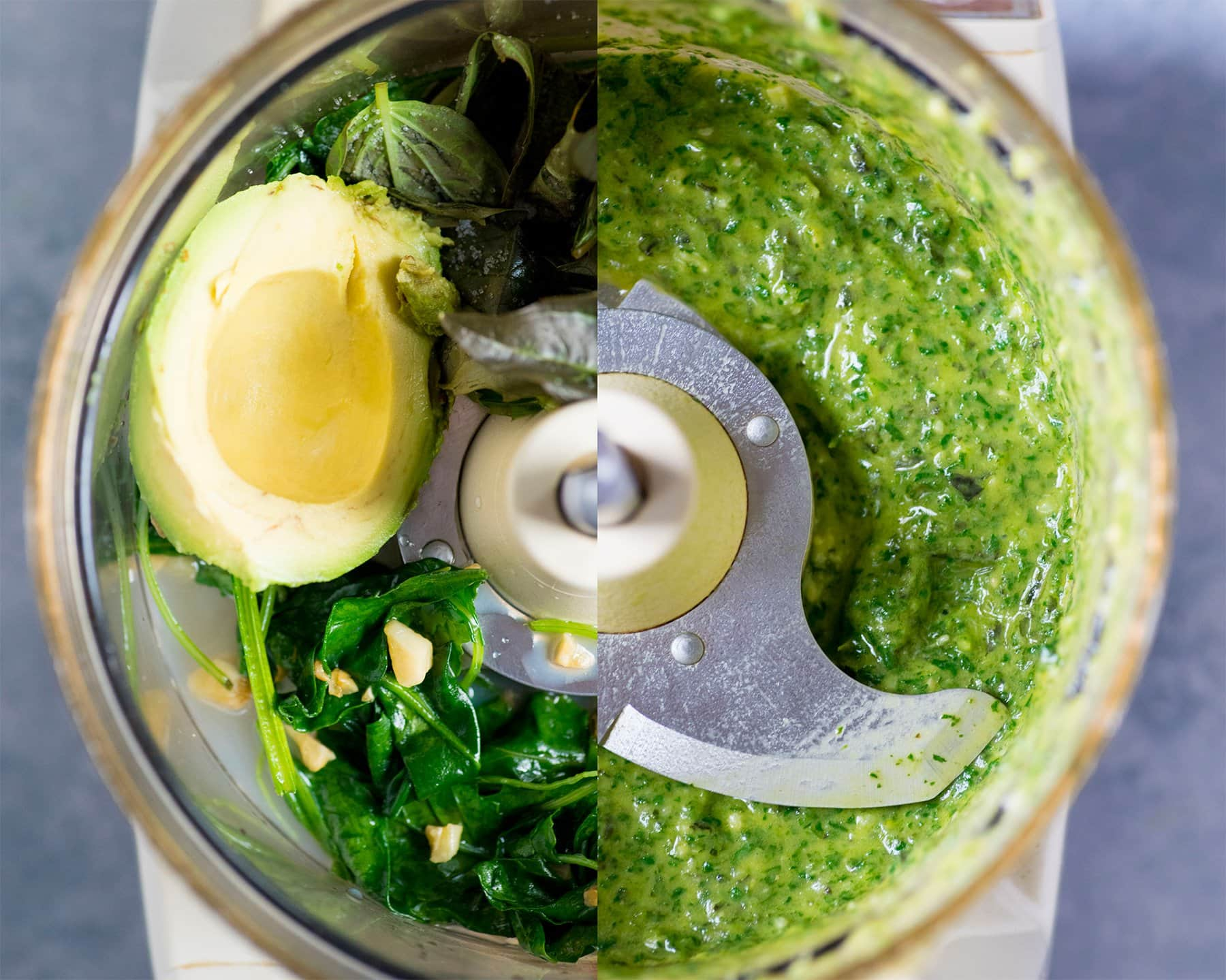 Overhead split-shot of ingredients for pesto in a food processor, with ingredients on the left and the blended pesto on the right