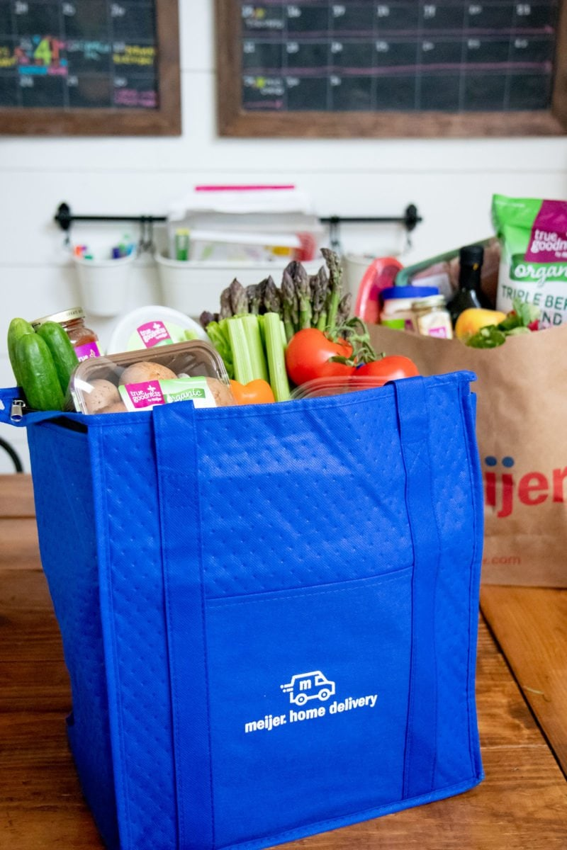 Meijer Home Delivery bags filled with groceries