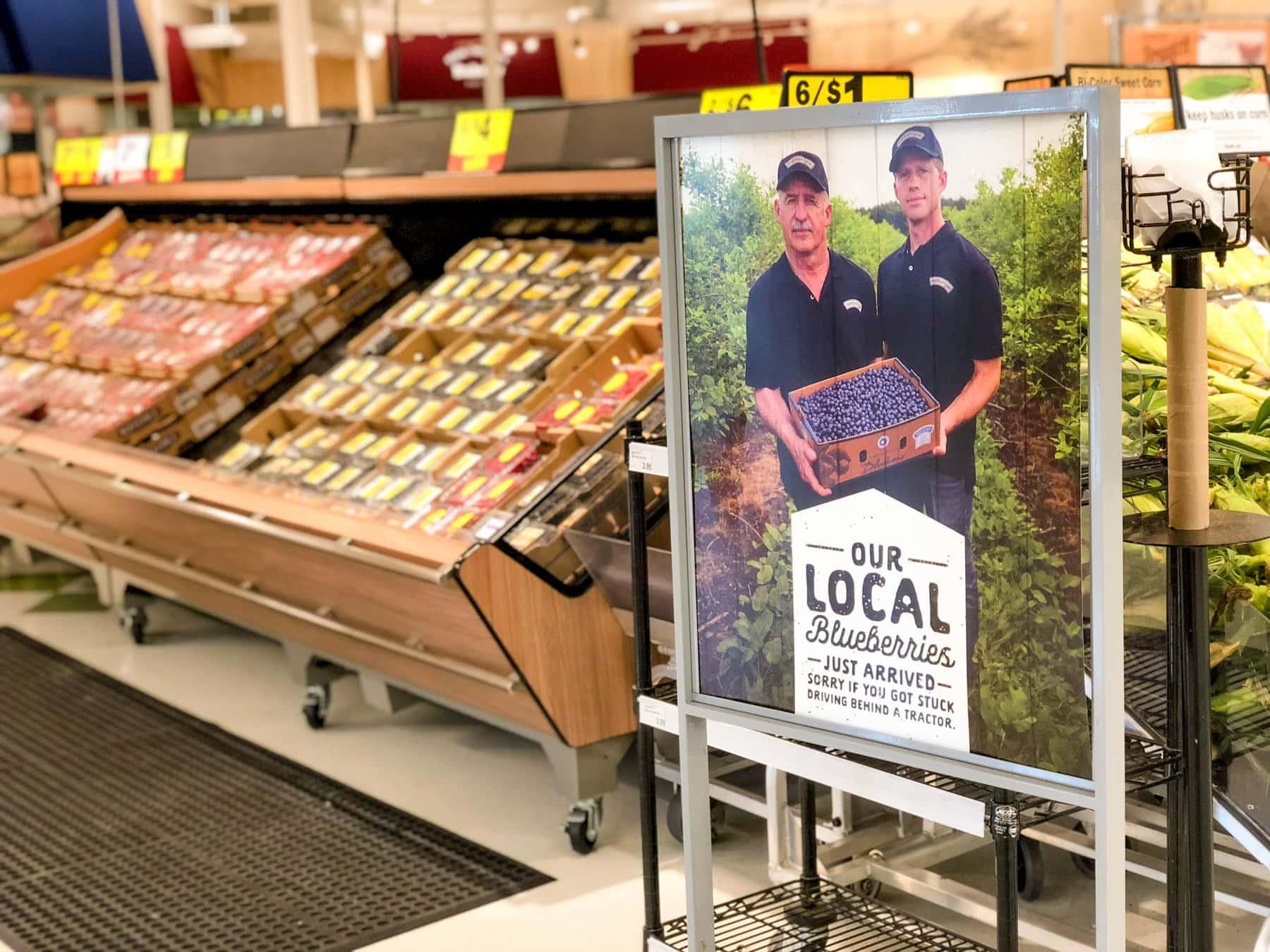 Grocery store display of berries