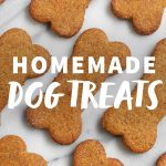 Healthy Homemade Dog Treats laid out on a marbled white background, with a text overlay