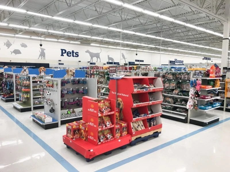 Shelves of pet products in a Meijer store