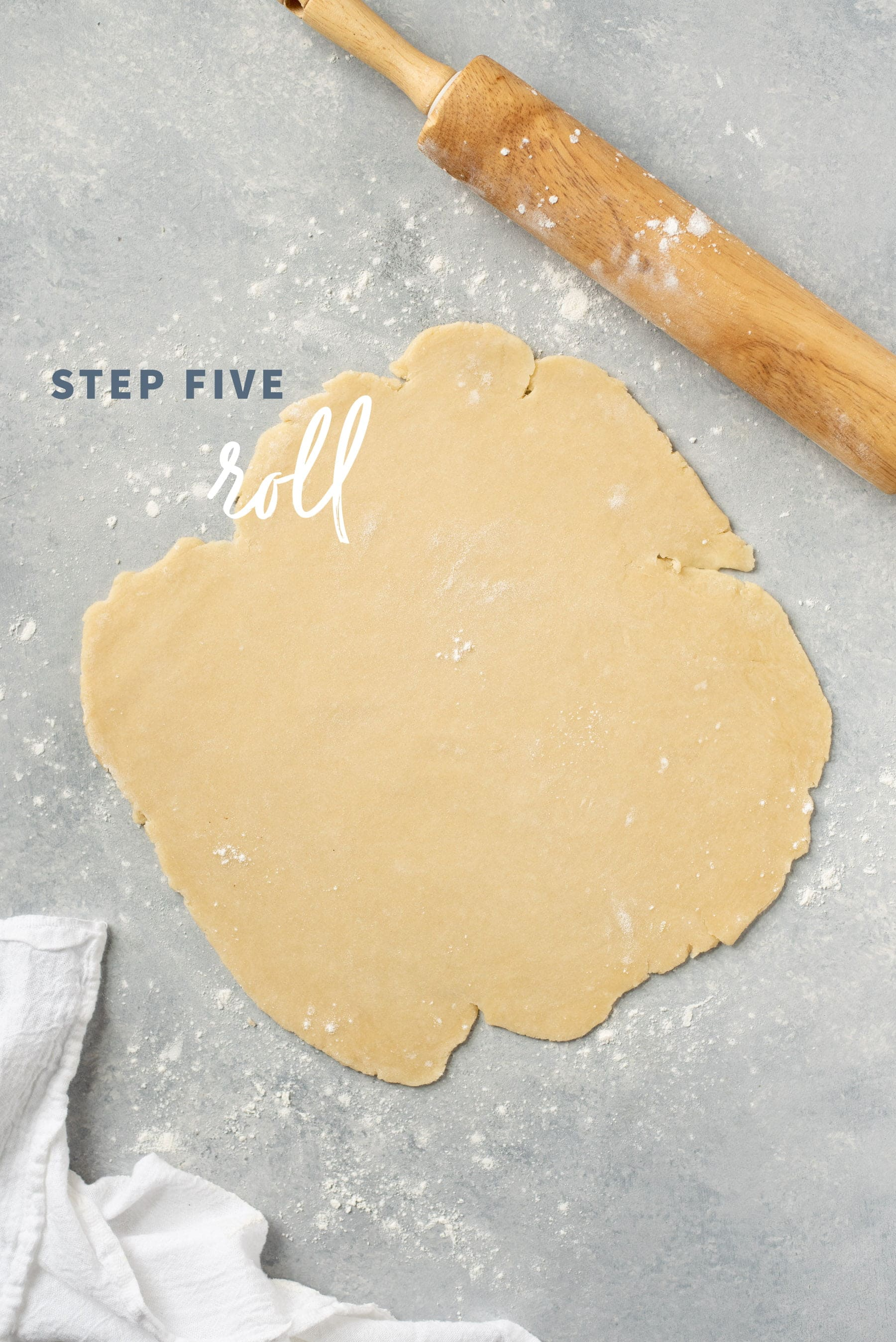 Rolled out circle of perfect pie crust dough