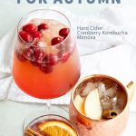 3 kombucha cocktails for autumn arranged on a white background