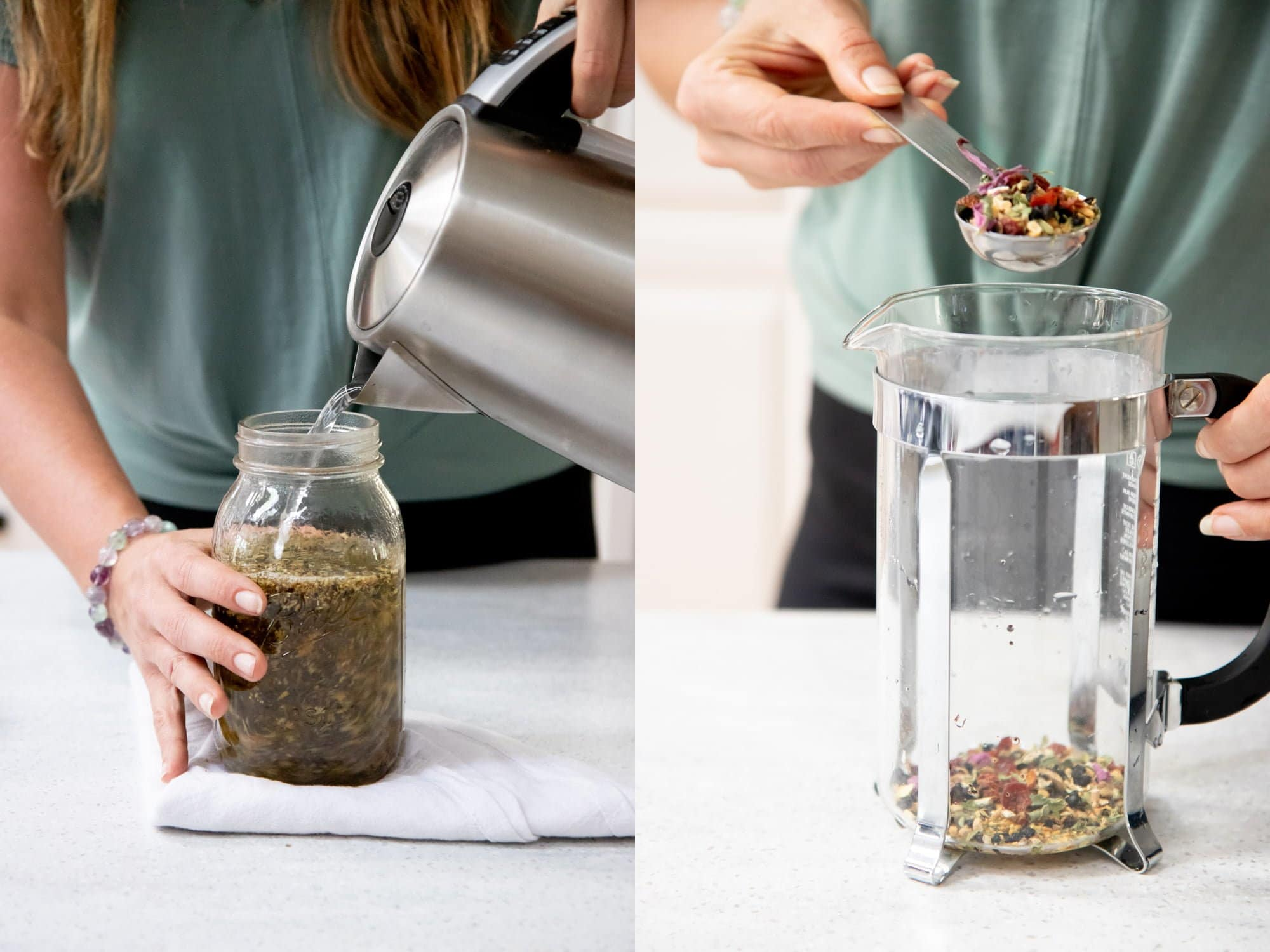 Side-by-side shot of herbal tea being brewed. On the left, tea is being poured into a mason jar. On the right, tea is being spooned into a French press.